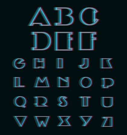 Vector Anaglyph 3D Alphabet Set, (3D Anaglyph Font)