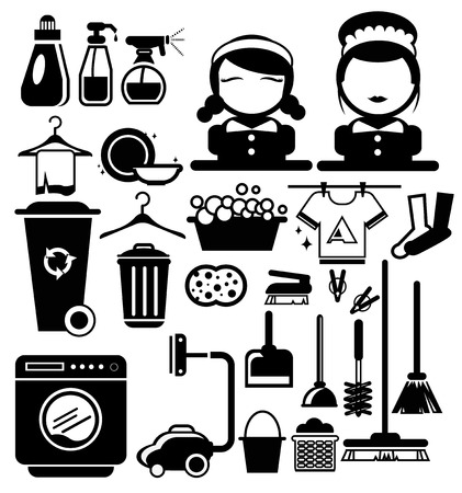 Vector Black Cleaning icons set, Housewife vector Vector