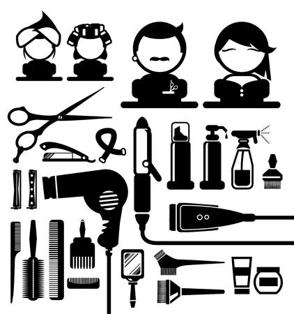 Hair styling silhouette icons set Illusztráció