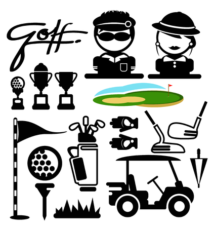 golf sport icons. vectorgolf sport icons. vector Illusztráció