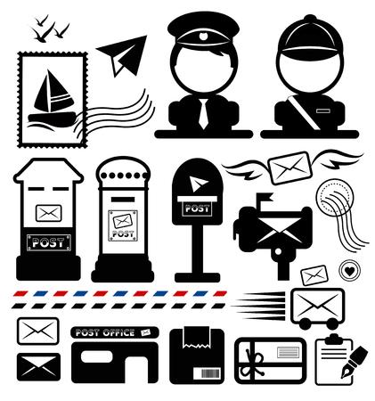Postman icon set. Illusztráció