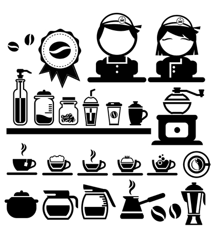 spirituous beverages: coffee icons set vector