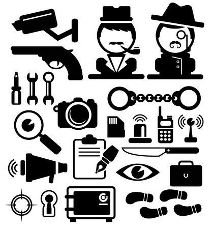 Detective icons set . vector Vector