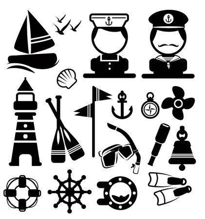 Nautical icons set vector Illusztráció