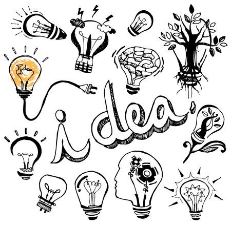 Vector light bulb Doodle hand drawn Illusztráció