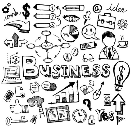 Business Doodles Hand Drawn. Vector