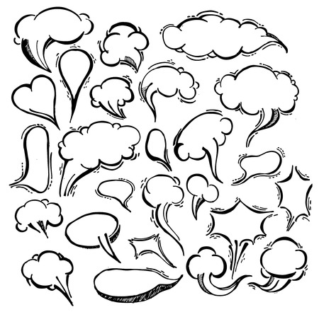 Speech Bubble Doodles Hand Drawn. Vector