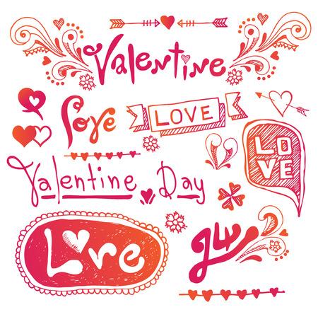 Love & Hearts Doodles Design Elements Illusztráció