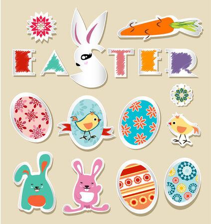 Set of Easter ornaments and decorative elements, Vector stickers Easter vintage Illusztráció