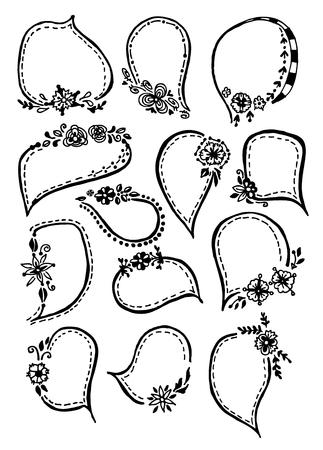Collection doodle frames Illusztráció