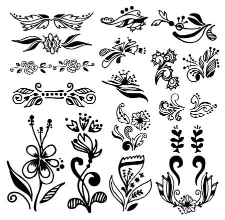 Set of vintage calligraphic design elements,doodle Illusztráció