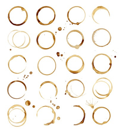 20 Coffee Stain, geïsoleerd op een witte achtergrond, Vector Illustratie