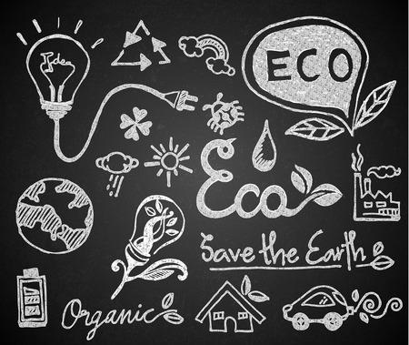 Set of chalk hand drawing eco on blackboard Illustration