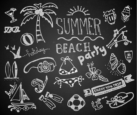 sun beach: Set of chalk hand drawing summer on blackboard. vector
