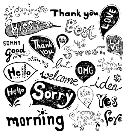 sorry: Doodles Hand Drawn vector Illustration