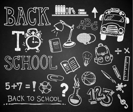 Set of chalk hand drawing BACK TO SCHOOL on blackboard