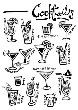 cocktail  doodle vector Çizim