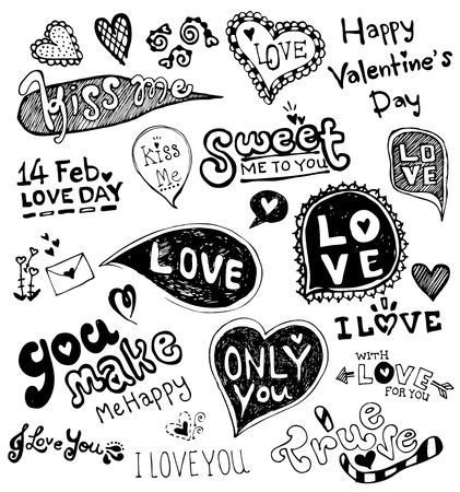 love doodle vector, valentine vector Illusztráció