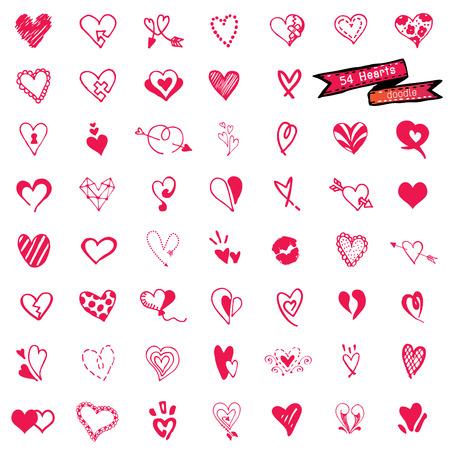 54 Heart set, doodle vector