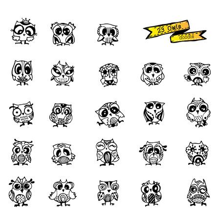 Owls vector, doodle Illusztráció