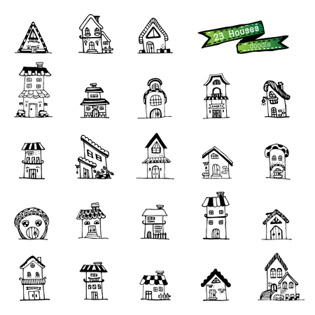 houses doodle set Vector