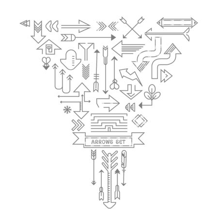 Arrow outline icons set