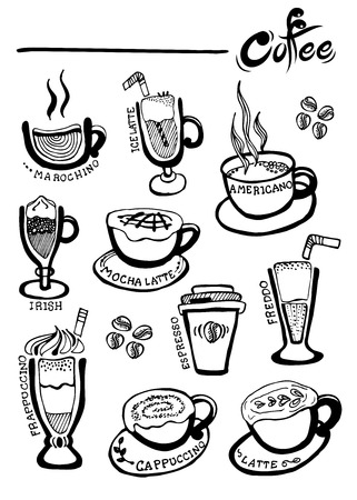 Coffee Hand getrokken vector, Doodles