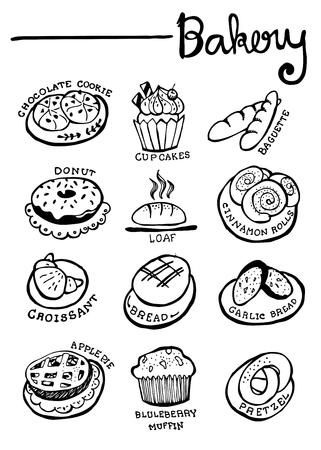 Bakkerij Doodles hand getekende vector Stock Illustratie
