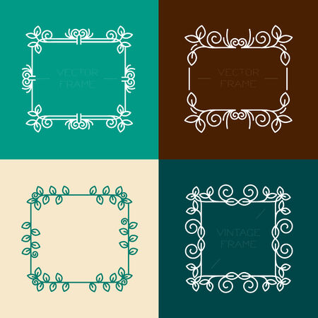 Vector set of floral frames in line style , graphic design elements