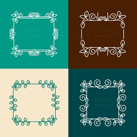 Vector set van bloemen frames in lijn stijl, grafisch ontwerp elementen