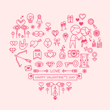 love heart vector. love outline icons set , vector illustration