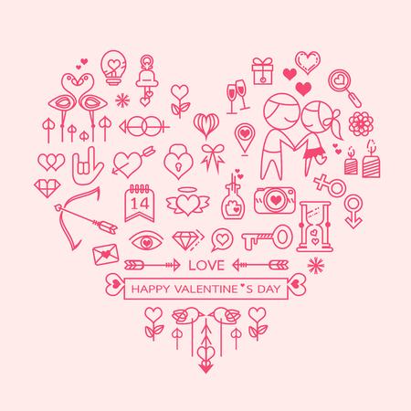 liefde hart vector. hou overzicht pictogrammen instellen, vector illustratie Stock Illustratie