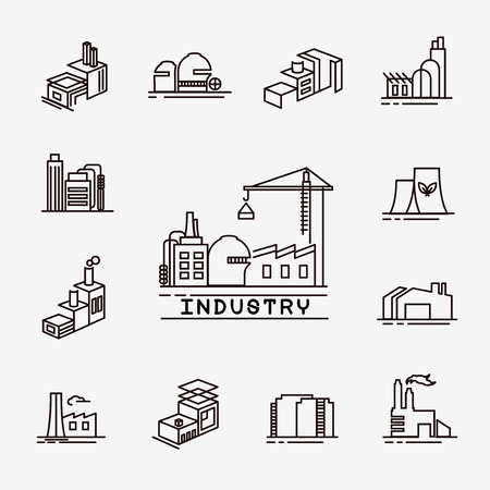 building factory icons Stock Illustratie