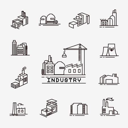 gebouw fabriek pictogrammen