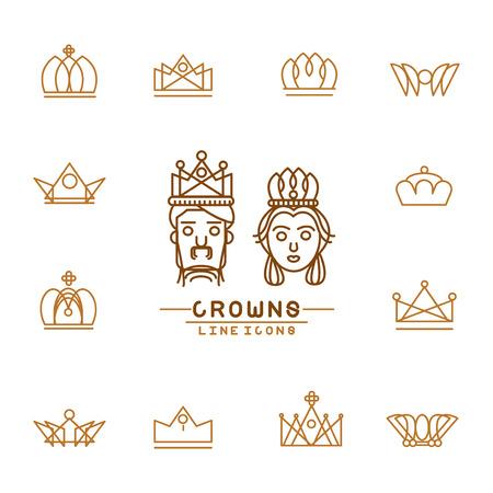 Set van de kroon lijn iconen Stock Illustratie