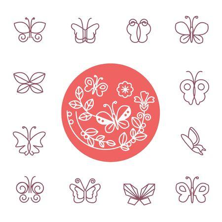 벡터 라인 나비 아이콘 - 화장품 및 유기 상점 디자인 요소 집합