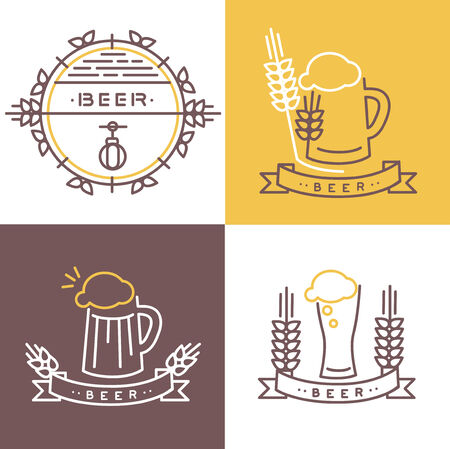 Vector beer icon and banner - line icons and design elements for pubs