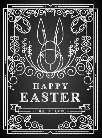 Easter card on the chalkboard. Stock Illustratie