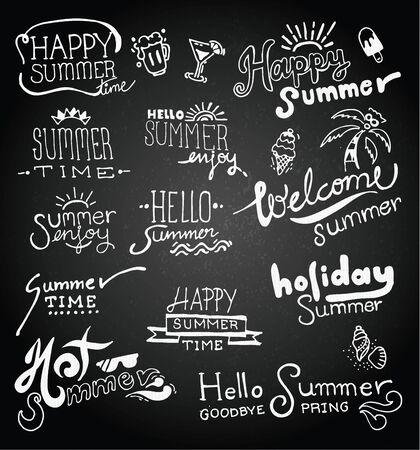Set of chalk hand drawing summer on blackboard. vector