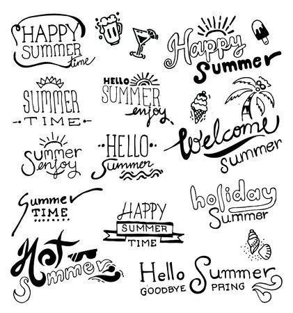 Set of hand drawing summer on blackboard. vector