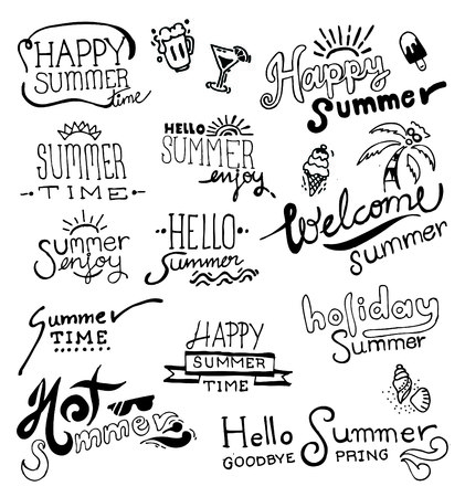 de zomer: Set van de hand tekening zomer op het bord. vector