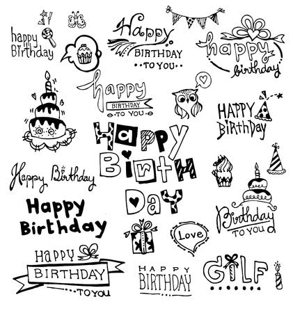 Doodle Happy Birthday, vector illustraties Stock Illustratie
