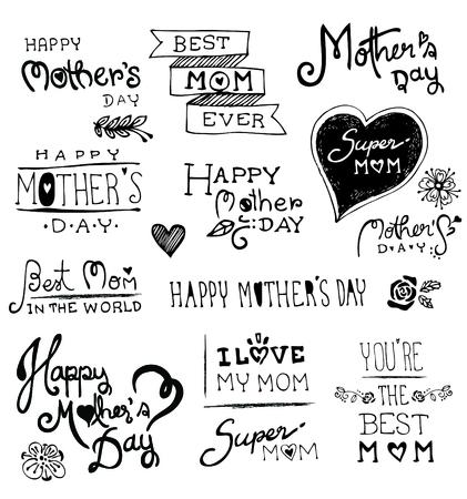De gelukkige Dag van handgetekende typografie, doodles vector illustratie Stock Illustratie