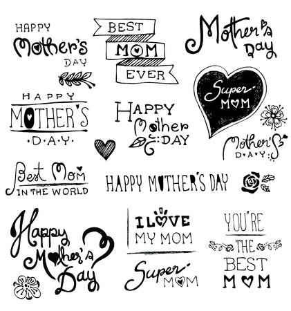 mum and child: Happy Mothers Day hand drawn typography, Doodles vector illustration