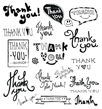 THANK YOU hand lettering. Doodles Hand Drawn vector.  イラスト・ベクター素材
