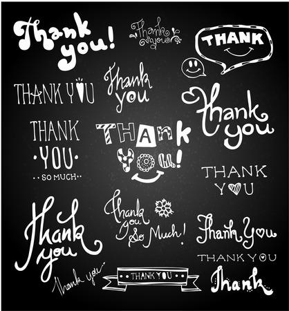 Set of chalk hand drawing THANK YOU  on blackboard.  Çizim