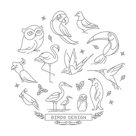 Vogel lijn iconen met overzichts stijl vector design elements Stock Illustratie