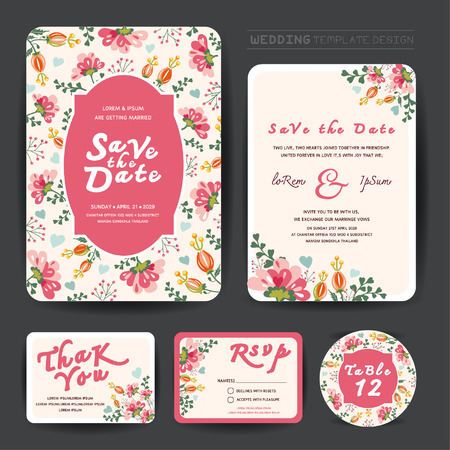 album greetings: Wedding floral template collection.