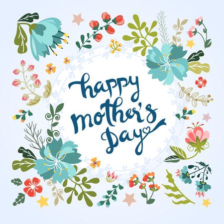 Día de felicitación floral de madre feliz Foto de archivo - 46153071