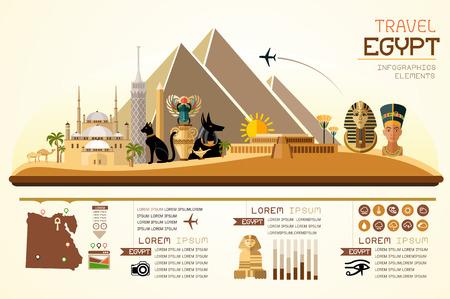 Info graphics reizen en landmark Egypte template design. Concept Vector Illustratie
